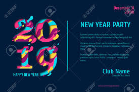 2019 Happy New Year Paper Craft Holiday Background Vector Winter