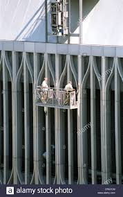 New York Usa Window Washer At The World Trade Center Stock Photo