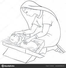 Moeder Maria Met Kind Jezus In De Kribbe Kleurplaat Pagina