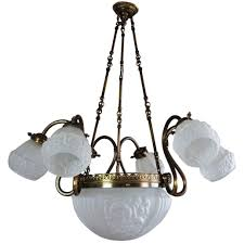 mid century brass and frosted glass large nine light chandelier for