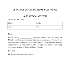 A Blank Doctors Note Sick Note Template For Work