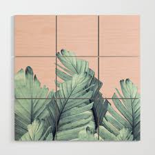blush banana leaves dream 5 tropical decor art society6 wood wall art