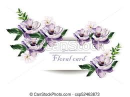 Purple Flowers Backgrounds Vintage Card Beautiful Purple Flowers Vector Illustration Floral Pattern Backgrounds
