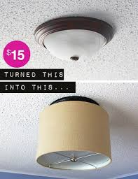 Upgrade a ceiling light with a drum shade for under $15   Drum shade, Drums  and Flush ceiling lights