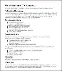 Example Of A Excellent Resume Floral Assistant Sample Resume ...