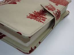 botanical fabric book cover with tab fastener by plaincreations 12 00