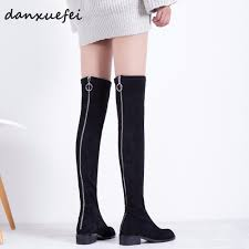 Designer Over The Knee Boots Sale Us 64 5 25 Off Womens Genuine Suede Leather Stretch Back Zip Over The Knee Boots Brand Designer Flats Long Black Slim Boots Winter Shoes Sale In