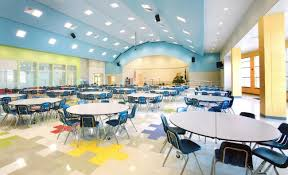 elementary school cafeteria. A Great Design For An Elementary Cafeteria With The Bright Colors Keeping Mode Happy And Joyful Kids. School