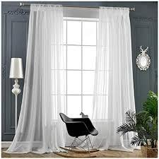 Amazon.com: Rod Pocket Sheer Curtains Window Voile Treatment Panels ...