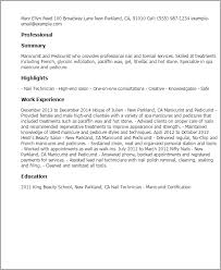 Resume Templates: Manicurist And Pedicurist
