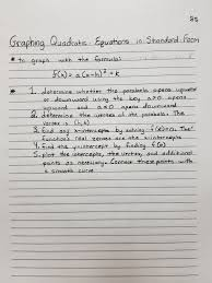 standard form physics graphing quadratic equations in standard form math and physics