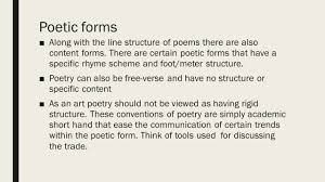 warm up what is poetic structure to you turn in ap essay ppt  7 poetic