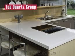 pure white artificial quartz stone kitchen counter tops