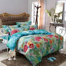 aqua blue green and red tropical fern botany and flower print sun seed fresh world style 100 cotton full queen size bedding sets