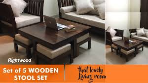 Space Saving Coffee Table Space Saver Economic Wooden Set Of 4 Stools And Coffee Table