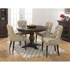 jofran geneva hills 5pc round dining table set with tufted chairs