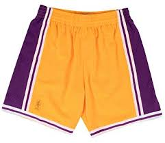 Mitchell Ness Mens Lakers Swingman Shorts Gold Purple