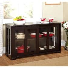 glass door credenza buffet table with doors simple high gloss espresso