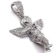 10k white gold diamond angel pendant