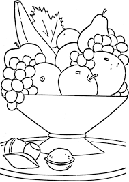 Fruit Basket On The Table Coloring