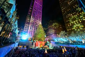 the rockefeller center tree is now lit up