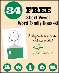 Check out this giant set of 34 FREE short vowel word family houses ...