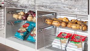 wire baskets are one of many pantry shelving ideas pull out