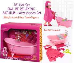 18 doll pink bathtub accessories set owl hooded bath towel fits american girl