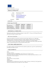 European Resume Format It Resume Cover Letter Sample