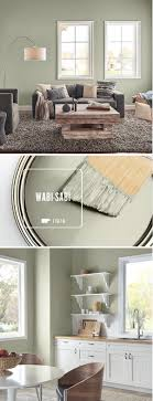 Use a fresh coat of BEHR Paint in Wabi-Sabi in every room of your home.  When paired with dark gray and natural wood accents, this light green paint  color ...
