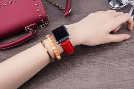 alligator crocodile apple watch band for women red