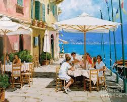 portofino painting lunch in portofino by michael swanson