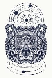 Fototapeta Bear A Vesmír Tetování A Tričko Design Severní Medvěd Grizzly