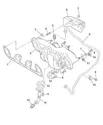 2009 dodge caliber exhaust manifold turbocharger hoses tubes heat shield diagram