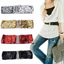 1pc Free Size Wide Stretch Belt Women Shinny Cummerbund High ...