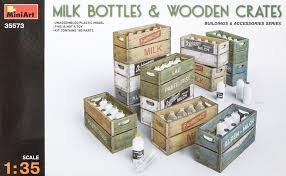 milk bottles and wooden crates