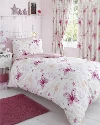 girls duvet sets pink gingham stars fairy wands