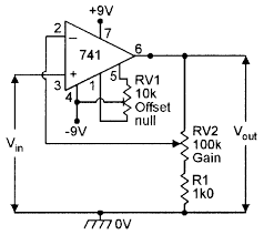 non inverting dc amplifier with offset nulling facility and x10 gain