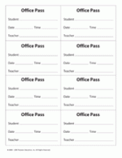 Classroom Passes And Notes Teachervision