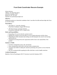 Front Desk Resume Objectives Hotel Front Desk Resume No Experience 24 Clerk Sample 9