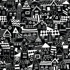 doodle hand drawn town seamless pattern stock vector ilration of location paper black and white