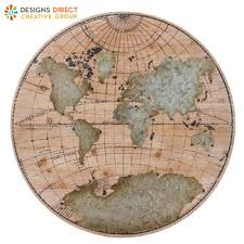 round world map wood wall decor