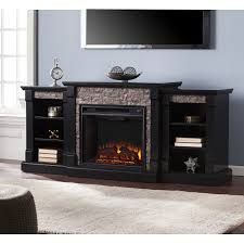 oliver james lotto black faux stone electric fireplace with harper blvd grissom bookcases marble free