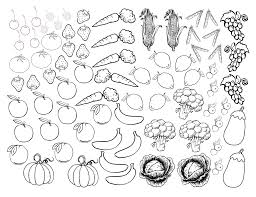 Small Picture Fruits and Vegetables Coloring Sheet