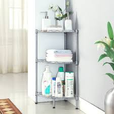 LANGRIA 3-Tire Corner Shelf Bathroom Shelving Corner Wire Shelving Units,  Free Standing Corner