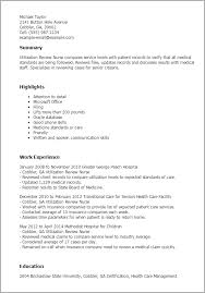 Resume Templates: Utilization Review Nurse