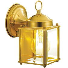 hampton bay 1 light polished brass outdoor wall mount lantern