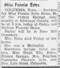 Fannie Estes - Obituary - Newspapers.com