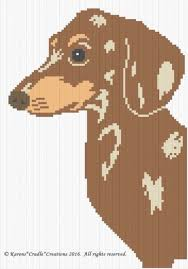 Dog Chart Crochet Patterns Dachshund Brown Dapple Dog Graph Afghan Pattern Chart