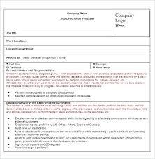 Work Description Form Ms Word Job Description Form Jd Format Template